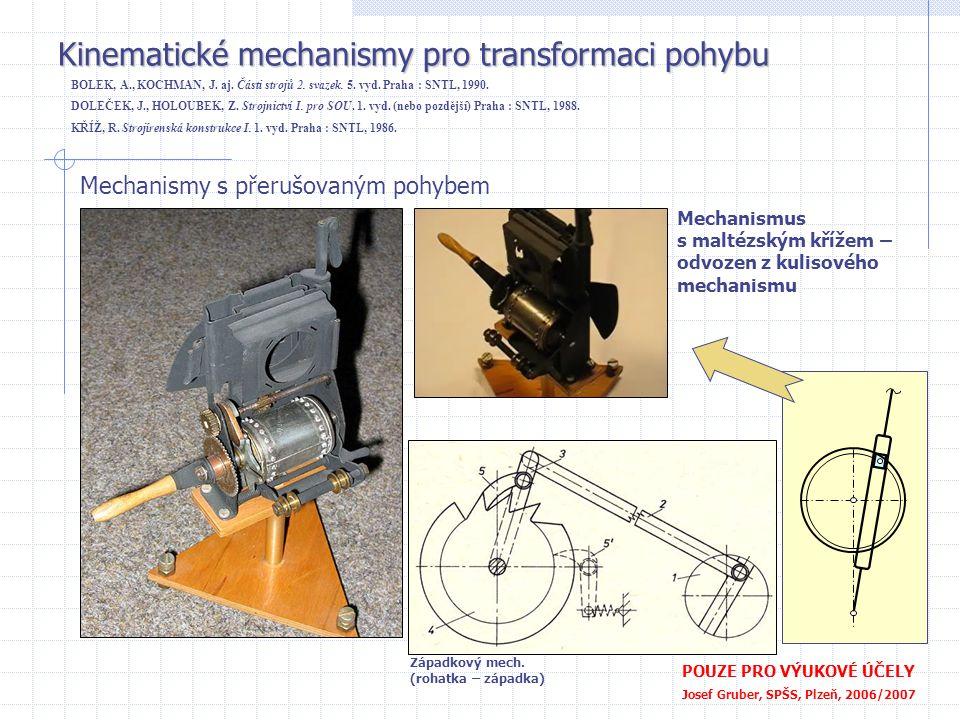 Kinematické mechanismy pro transformaci pohybu POUZE PRO VÝUKOVÉ ÚČELY Josef Gruber, SPŠS, Plzeň, 2006/2007 Mechanismy s přerušovaným pohybem Mechanis