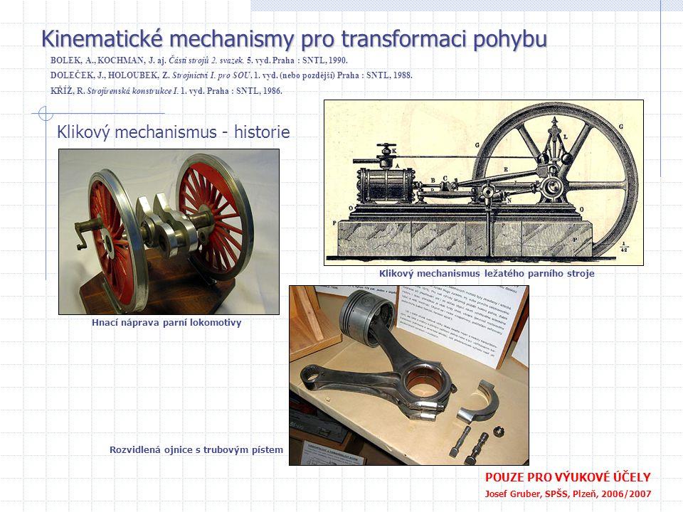Kinematické mechanismy pro transformaci pohybu POUZE PRO VÝUKOVÉ ÚČELY Josef Gruber, SPŠS, Plzeň, 2006/2007 Klikový mechanismus Klikový mechanismus malého leteckého motoru (Walther) BOLEK, A., KOCHMAN, J.