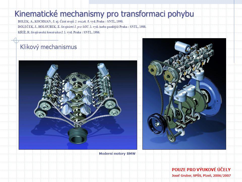Kinematické mechanismy pro transformaci pohybu POUZE PRO VÝUKOVÉ ÚČELY Josef Gruber, SPŠS, Plzeň, 2006/2007 Výstředníkový mechanismus - excentr Nahrazuje klikový mechanismus s malým zdvihem Výstředník Výstředníková tyč Dvoudílná objímka BOLEK, A., KOCHMAN, J.