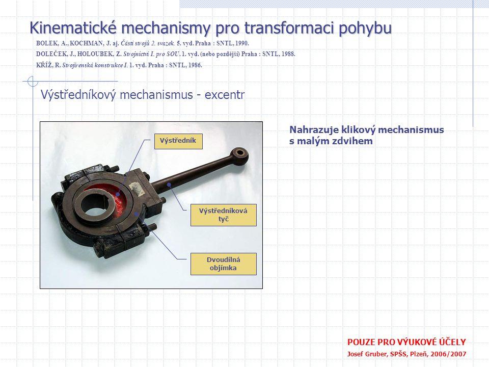 Kinematické mechanismy pro transformaci pohybu POUZE PRO VÝUKOVÉ ÚČELY Josef Gruber, SPŠS, Plzeň, 2006/2007 Výstředníkový mechanismus - excentr Nahraz