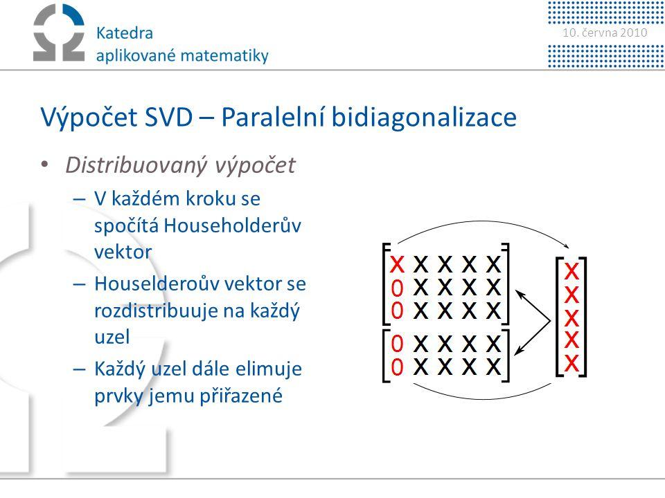 10. června 2010 Výpočet SVD – Paralelní bidiagonalizace • Distribuovaný výpočet – V každém kroku se spočítá Householderův vektor – Houselderoův vektor