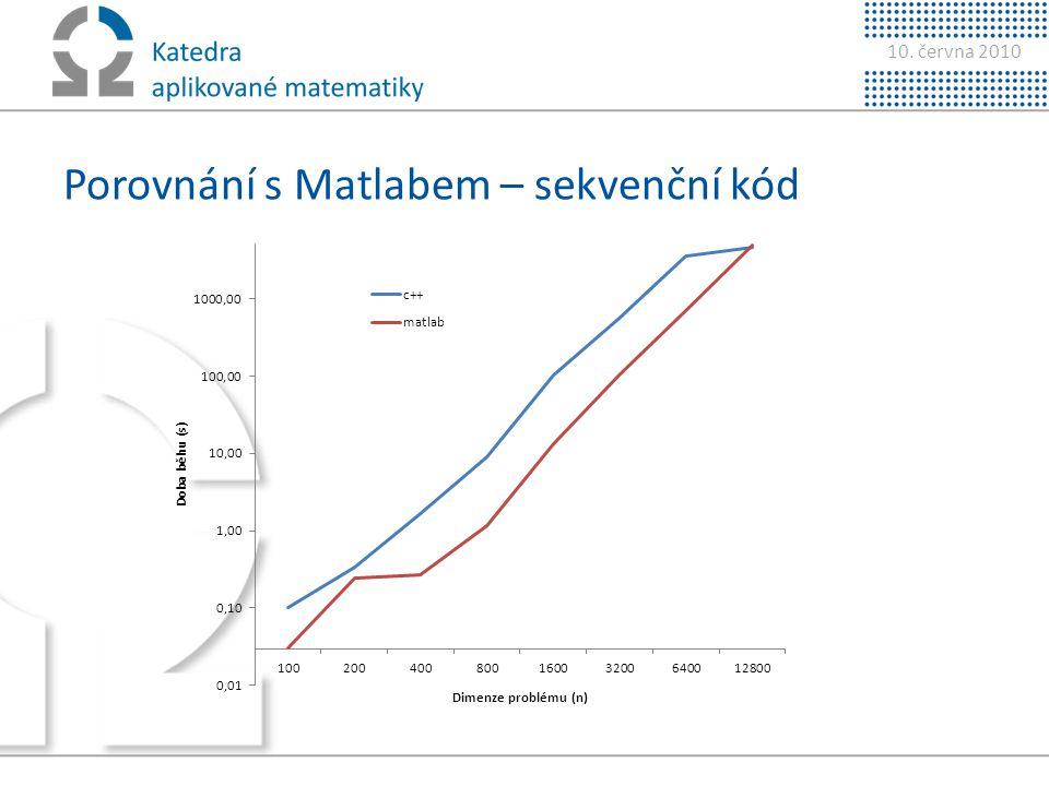10. června 2010 Porovnání s Matlabem – sekvenční kód