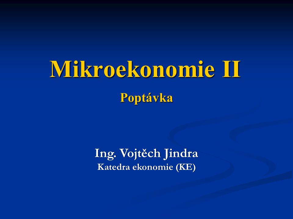 Poptávka Ing. Vojtěch JindraIng. Vojtěch Jindra Katedra ekonomie (KE)Katedra ekonomie (KE) Mikroekonomie II