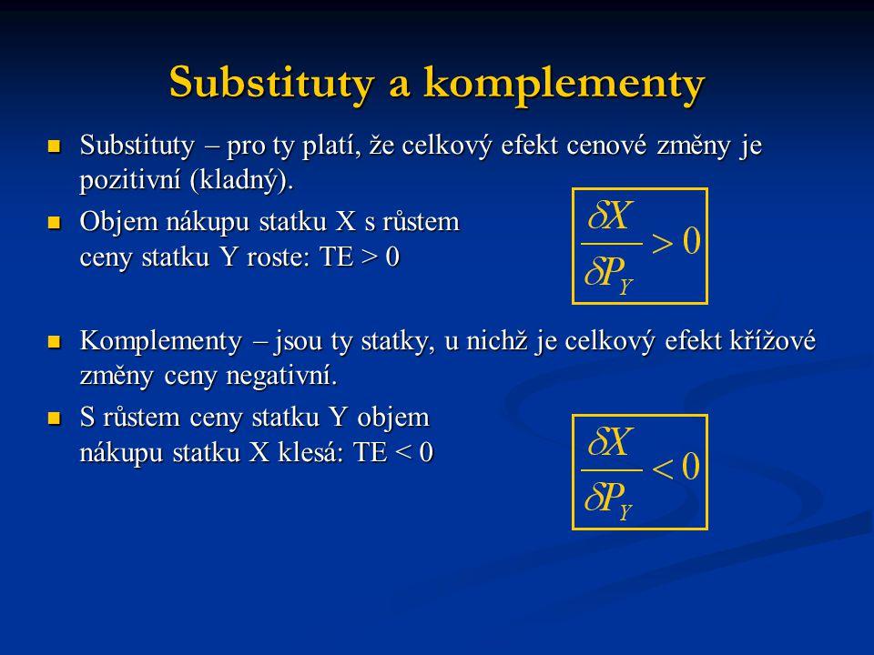 Substituty a komplementy  Substituty – pro ty platí, že celkový efekt cenové změny je pozitivní (kladný).  Objem nákupu statku X s růstem ceny statk