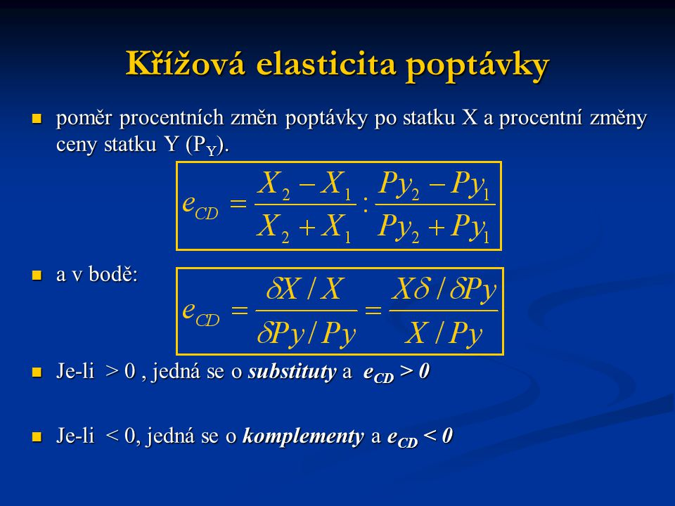 Křížová elasticita poptávky  poměr procentních změn poptávky po statku X a procentní změny ceny statku Y (P Y ).  a v bodě:  Je-li > 0, jedná se o