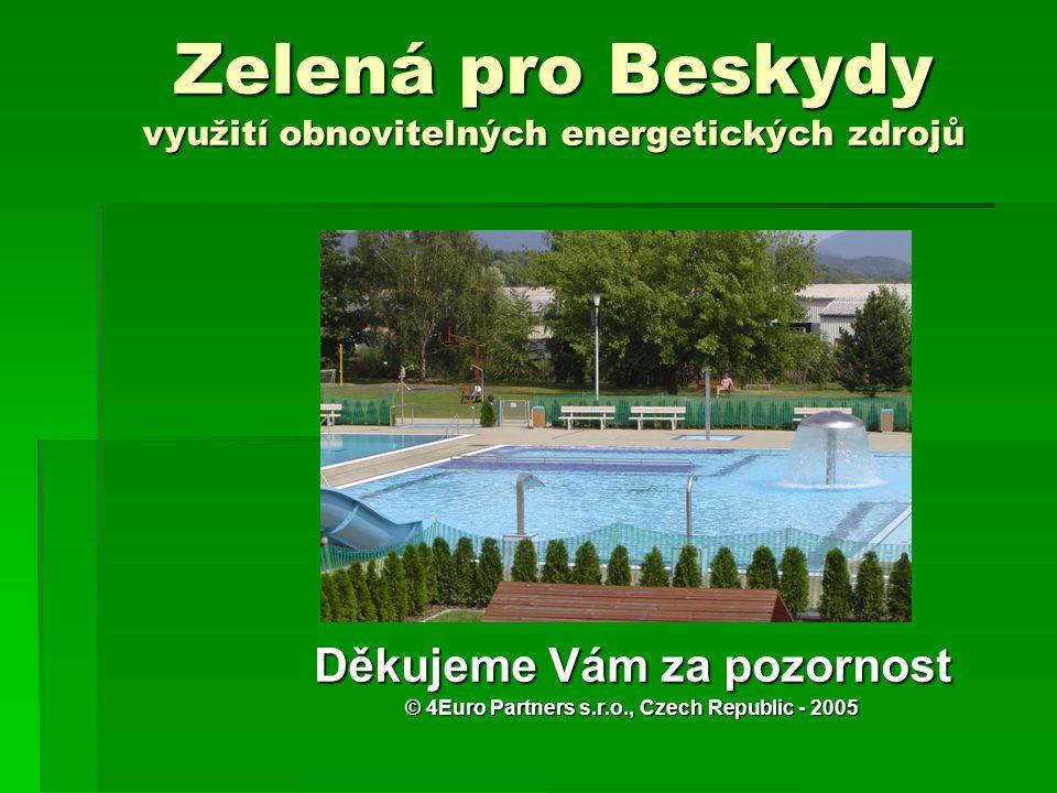 Zelená pro Beskydy využití obnovitelných energetických zdrojů Děkujeme Vám za pozornost © 4Euro Partners s.r.o., Czech Republic - 2005