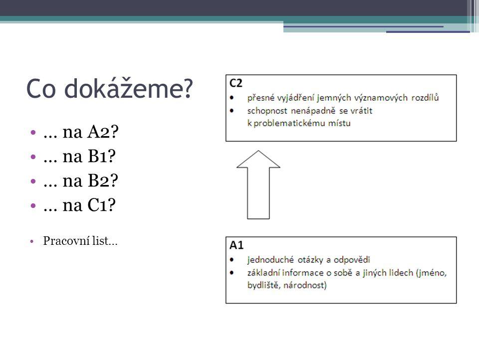 Co dokážeme? •… na A2? •… na B1? •… na B2? •… na C1? •Pracovní list…