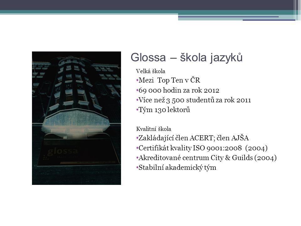 Glossa – škola jazyků Velká škola • Mezi Top Ten v ČR • 69 000 hodin za rok 2012 • Více než 3 500 studentů za rok 2011 • Tým 130 lektorů Kvalitní škol