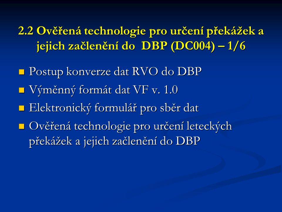 2.2 Ověřená technologie pro určení překážek a jejich začlenění do DBP (DC004) – 1/6 2.2 Ověřená technologie pro určení překážek a jejich začlenění do