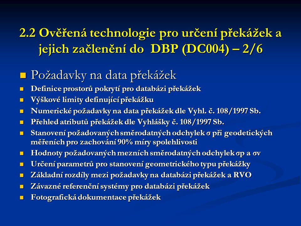 2.2 Ověřená technologie pro určení překážek a jejich začlenění do DBP (DC004) – 2/6 2.2 Ověřená technologie pro určení překážek a jejich začlenění do