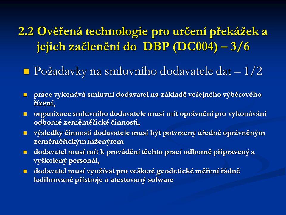 2.2 Ověřená technologie pro určení překážek a jejich začlenění do DBP (DC004) – 3/6 2.2 Ověřená technologie pro určení překážek a jejich začlenění do
