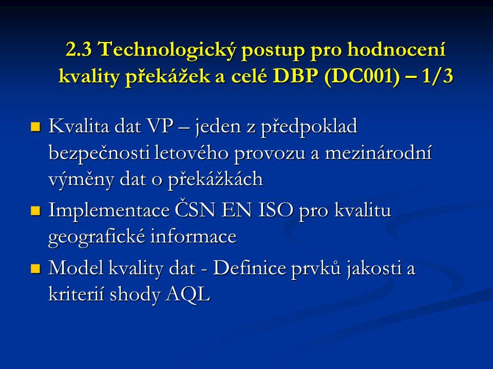 2.3 Technologický postup pro hodnocení kvality překážek a celé DBP (DC001) – 1/3  Kvalita dat VP – jeden z předpoklad bezpečnosti letového provozu a