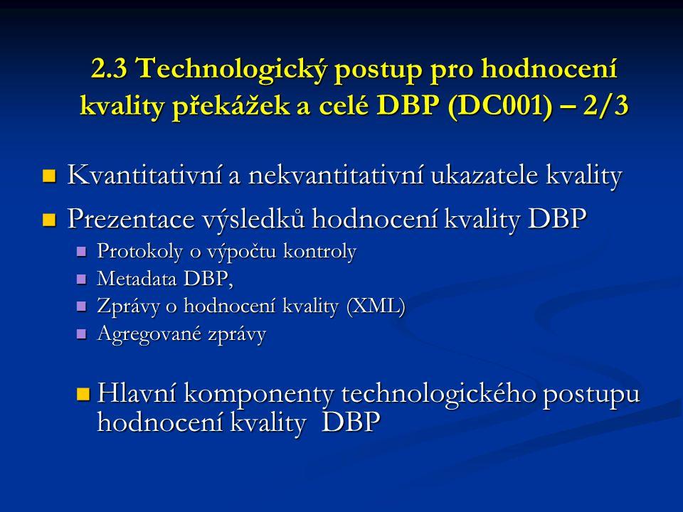 2.3 Technologický postup pro hodnocení kvality překážek a celé DBP (DC001) – 2/3  Kvantitativní a nekvantitativní ukazatele kvality  Prezentace výsl