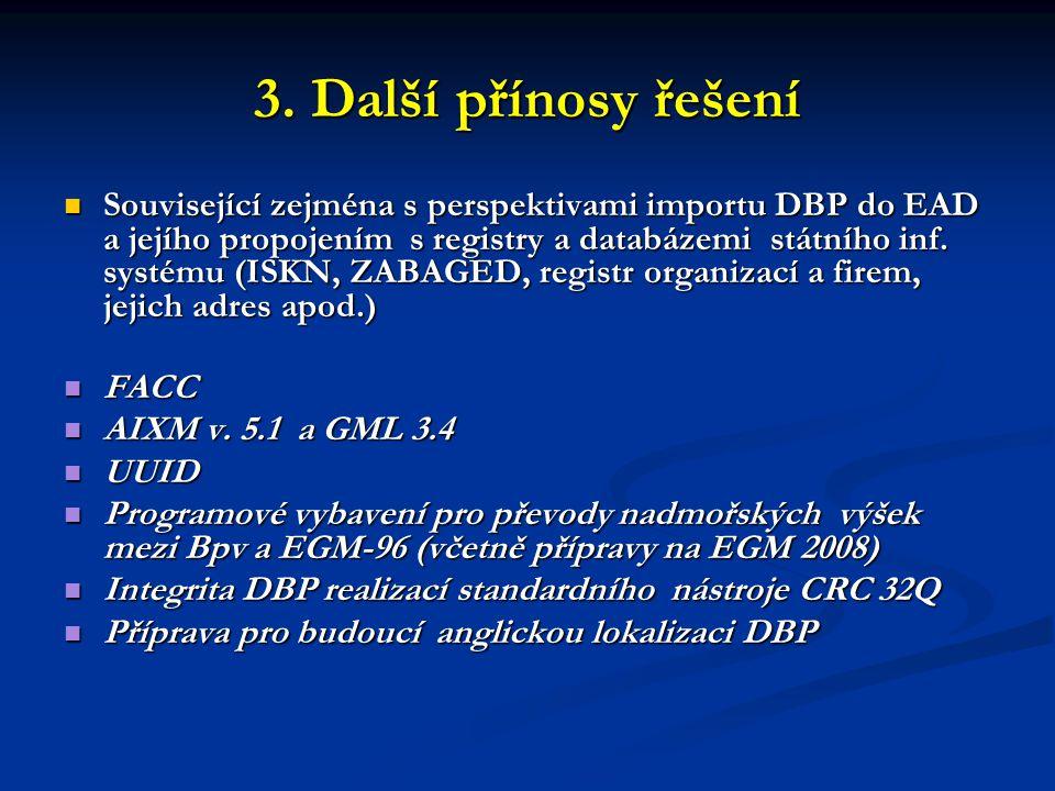 3. Další přínosy řešení  Související zejména s perspektivami importu DBP do EAD a jejího propojením s registry a databázemi státního inf. systému (IS