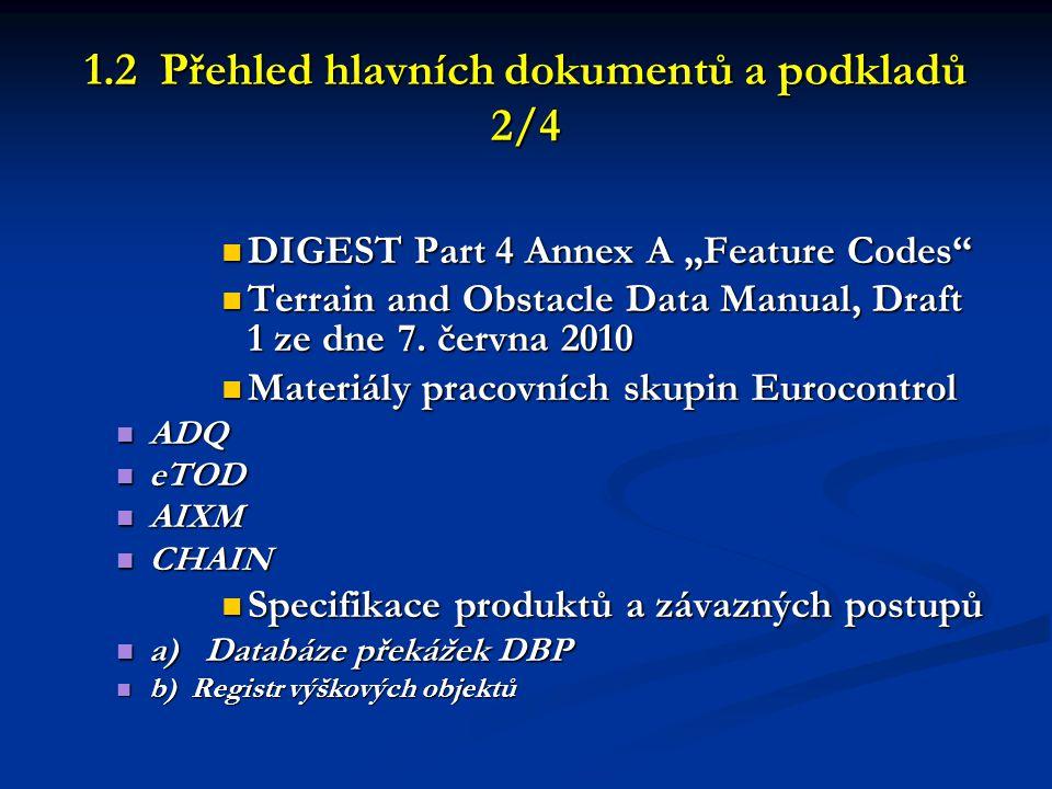 1.2 Přehled hlavních dokumentů a podkladů 3/4  Specifikace produktů a závazných postupů  a) databáze překážek DBP (a pracovní návrhy EAD)  b) Registr výškových objektů RVO  Materiály pracovních skupin Eurocontrol  ADQ  eTOD  AIXM  Předpisy, vyhlášky a směrnice resortu ČÚGK pro geodetické práce