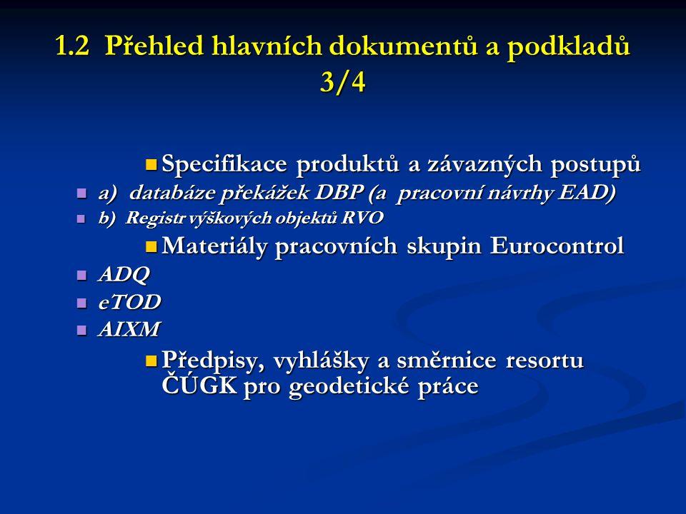1.2 Přehled hlavních dokumentů a podkladů 3/4  Specifikace produktů a závazných postupů  a) databáze překážek DBP (a pracovní návrhy EAD)  b) Regis