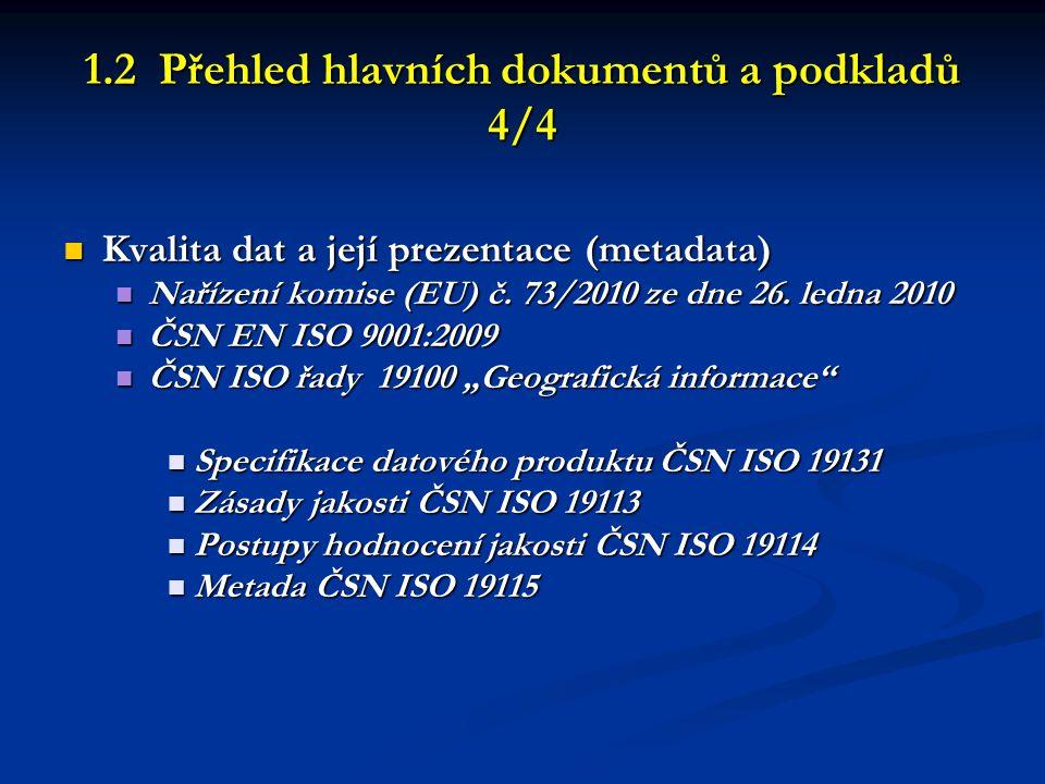 1.2 Přehled hlavních dokumentů a podkladů 4/4  Kvalita dat a její prezentace (metadata)  Nařízení komise (EU) č. 73/2010 ze dne 26. ledna 2010  ČSN