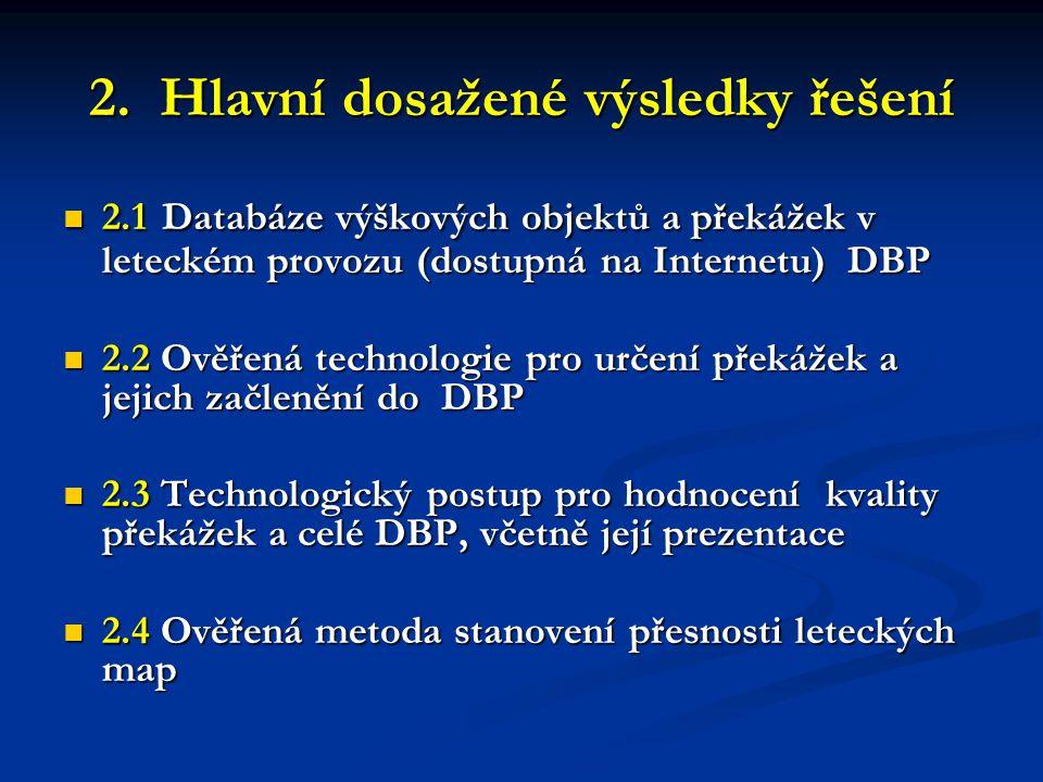 2. Hlavní dosažené výsledky řešení  2.1 Databáze výškových objektů a překážek v leteckém provozu (dostupná na Internetu) DBP  2.2 Ověřená technologi