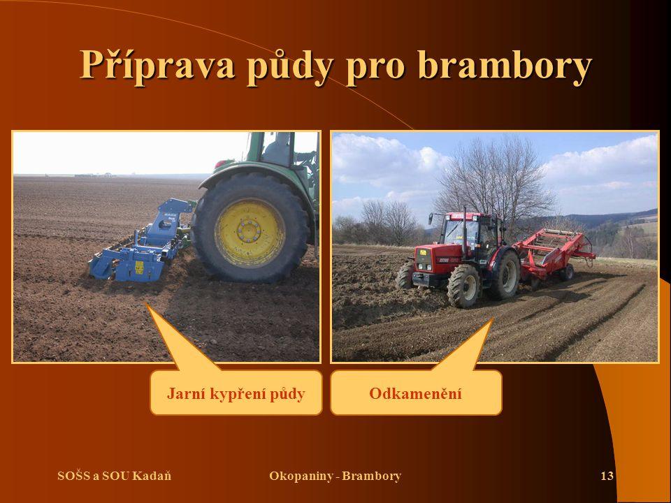 SOŠS a SOU KadaňOkopaniny - Brambory13 Příprava půdy pro brambory Jarní kypření půdy Odkamenění