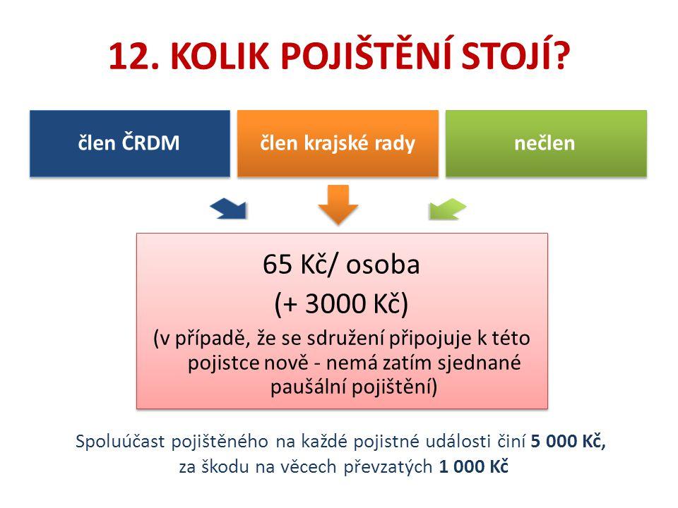 12. KOLIK POJIŠTĚNÍ STOJÍ? 65 Kč/ osoba (+ 3000 Kč) (v případě, že se sdružení připojuje k této pojistce nově - nemá zatím sjednané paušální pojištění