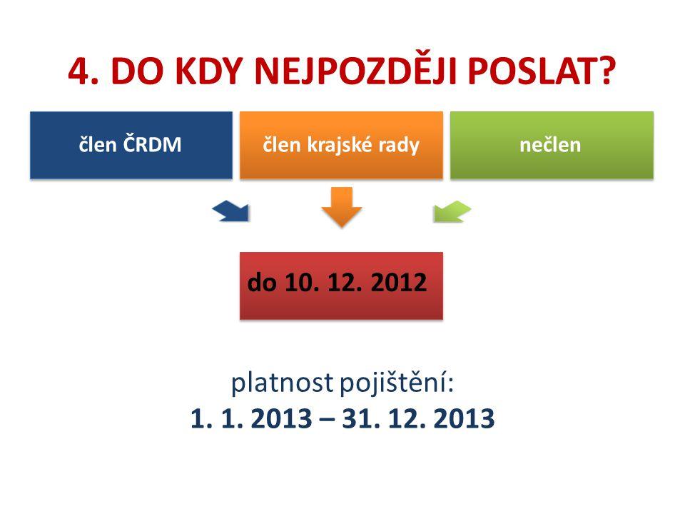 4. DO KDY NEJPOZDĚJI POSLAT? do 10. 12. 2012 člen ČRDM člen krajské rady nečlen platnost pojištění: 1. 1. 2013 – 31. 12. 2013