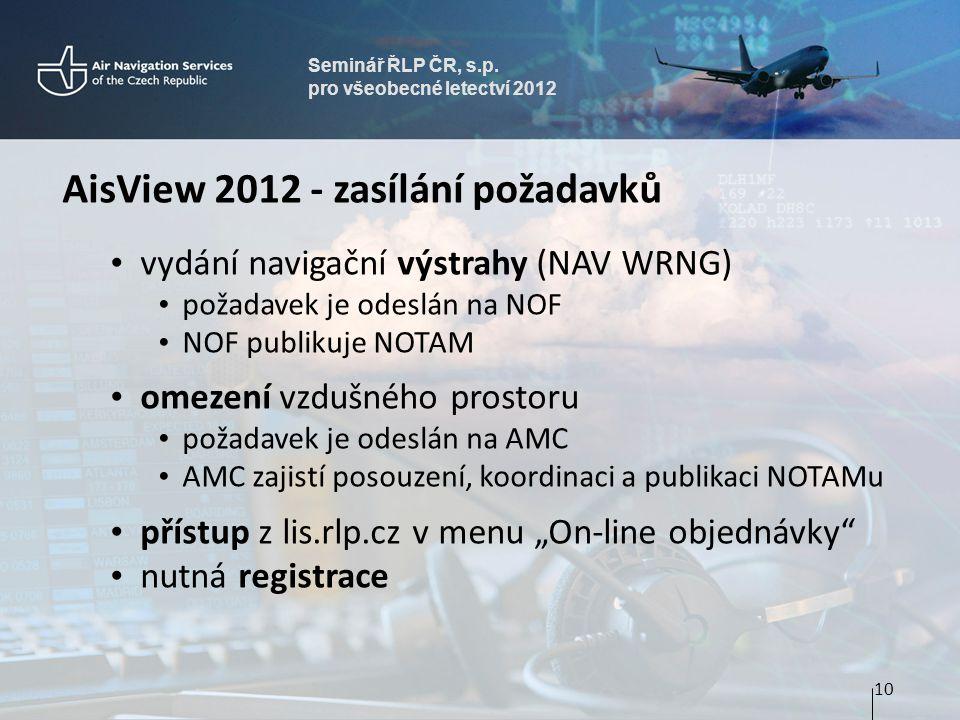 Seminář ŘLP ČR, s.p. pro všeobecné letectví 2012 AisView 2012 - zasílání požadavků • vydání navigační výstrahy (NAV WRNG) • požadavek je odeslán na NO