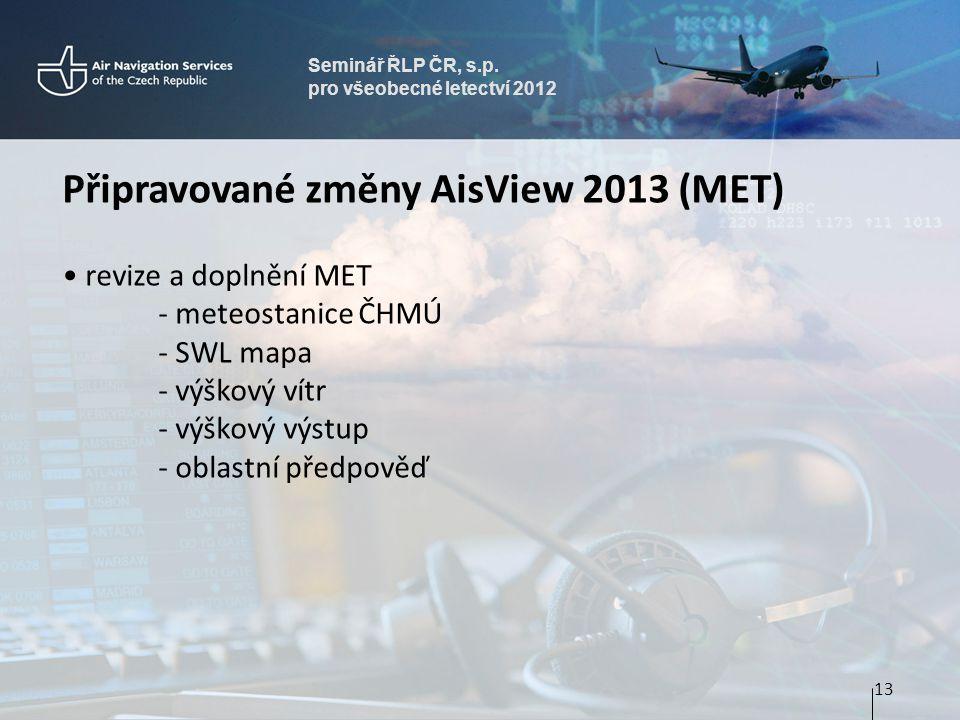 Seminář ŘLP ČR, s.p. pro všeobecné letectví 2012 Připravované změny AisView 2013 (MET) • revize a doplnění MET - meteostanice ČHMÚ - SWL mapa - výškov