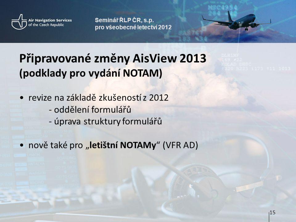 Seminář ŘLP ČR, s.p. pro všeobecné letectví 2012 Připravované změny AisView 2013 (podklady pro vydání NOTAM) • revize na základě zkušeností z 2012 - o