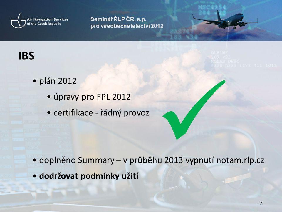 Seminář ŘLP ČR, s.p. pro všeobecné letectví 2012 IBS • plán 2012 •úpravy pro FPL 2012 •certifikace - řádný provoz • doplněno Summary – v průběhu 2013