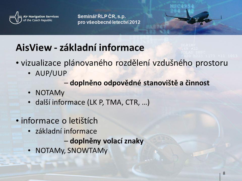 Seminář ŘLP ČR, s.p. pro všeobecné letectví 2012 AisView - základní informace • vizualizace plánovaného rozdělení vzdušného prostoru • AUP/UUP – dopln