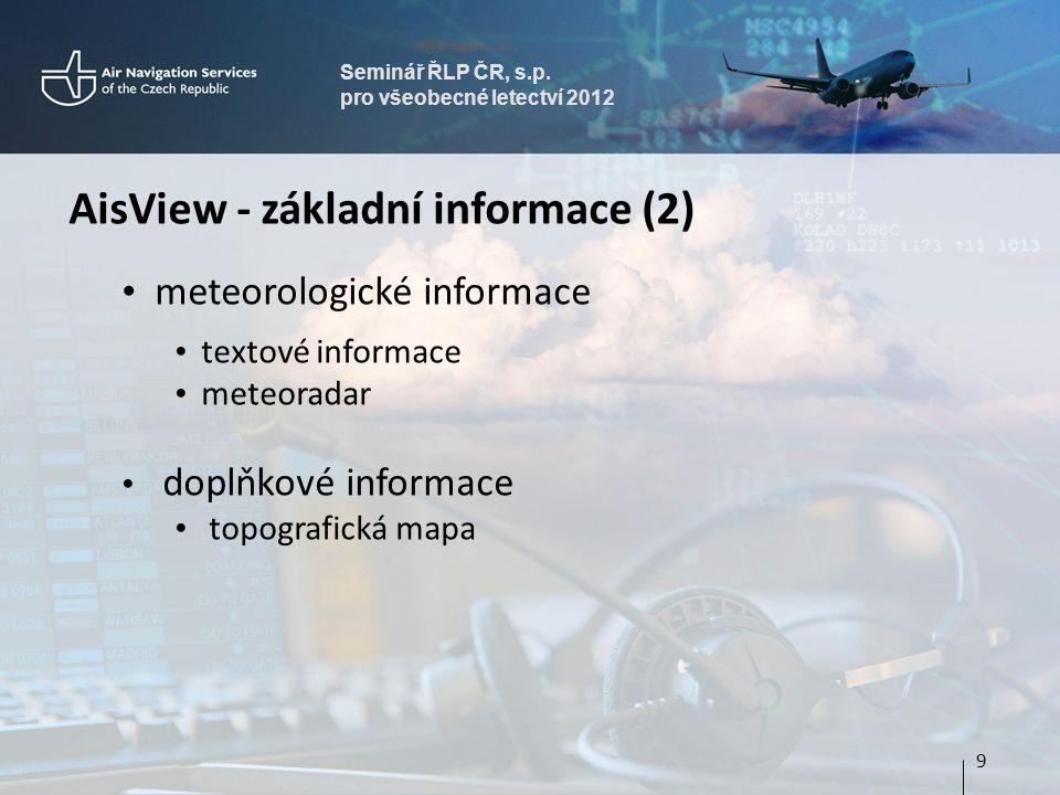 Seminář ŘLP ČR, s.p. pro všeobecné letectví 2012 AisView - základní informace (2) • meteorologické informace • textové informace • meteoradar • doplňk