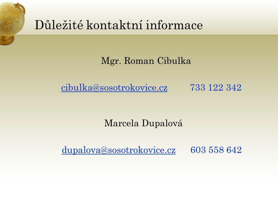 Důležité kontaktní informace Mgr.