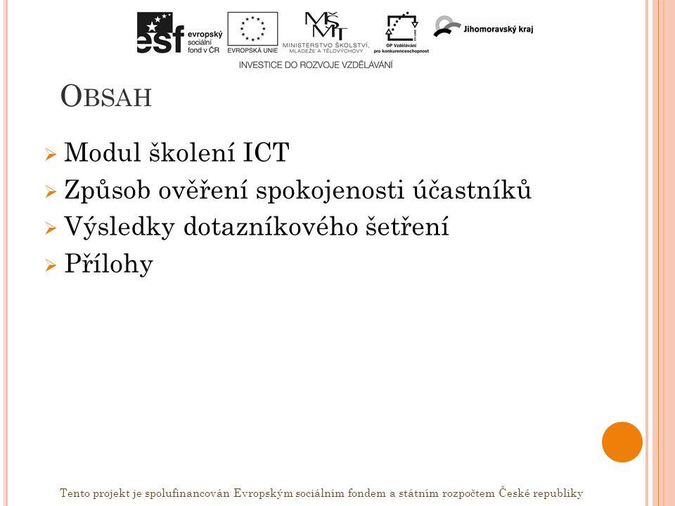 O BSAH  Modul školení ICT  Způsob ověření spokojenosti účastníků  Výsledky dotazníkového šetření  Přílohy Tento projekt je spolufinancován Evropským sociálním fondem a státním rozpočtem České republiky