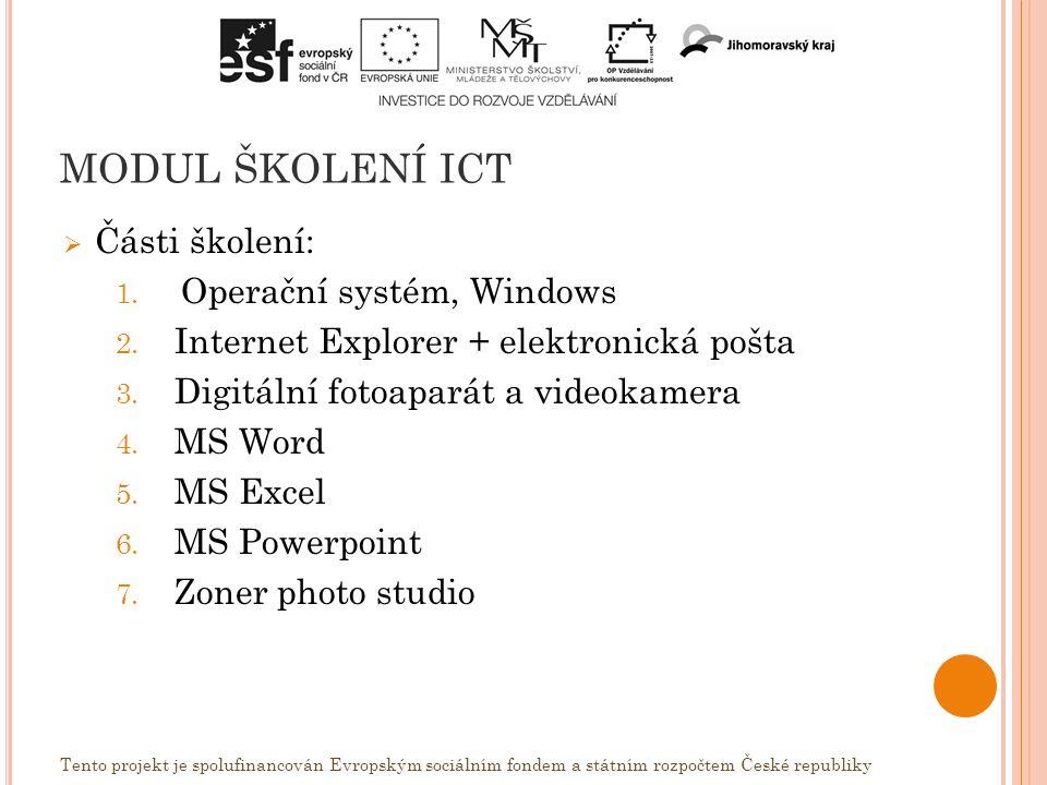 MODUL ŠKOLENÍ ICT  Části školení: 1. Operační systém, Windows 2.
