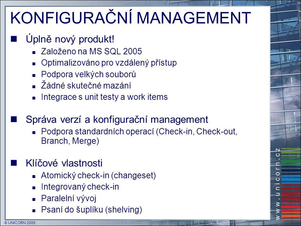 © UNICORN 2005 KONFIGURAČNÍ MANAGEMENT  Úplně nový produkt!  Založeno na MS SQL 2005  Optimalizováno pro vzdálený přístup  Podpora velkých souborů