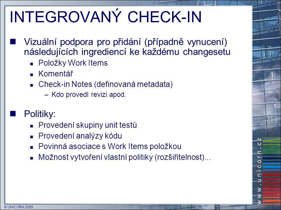 © UNICORN 2005 INTEGROVANÝ CHECK-IN  Vizuální podpora pro přidání (případně vynucení) následujících ingrediencí ke každému changesetu  Položky Work