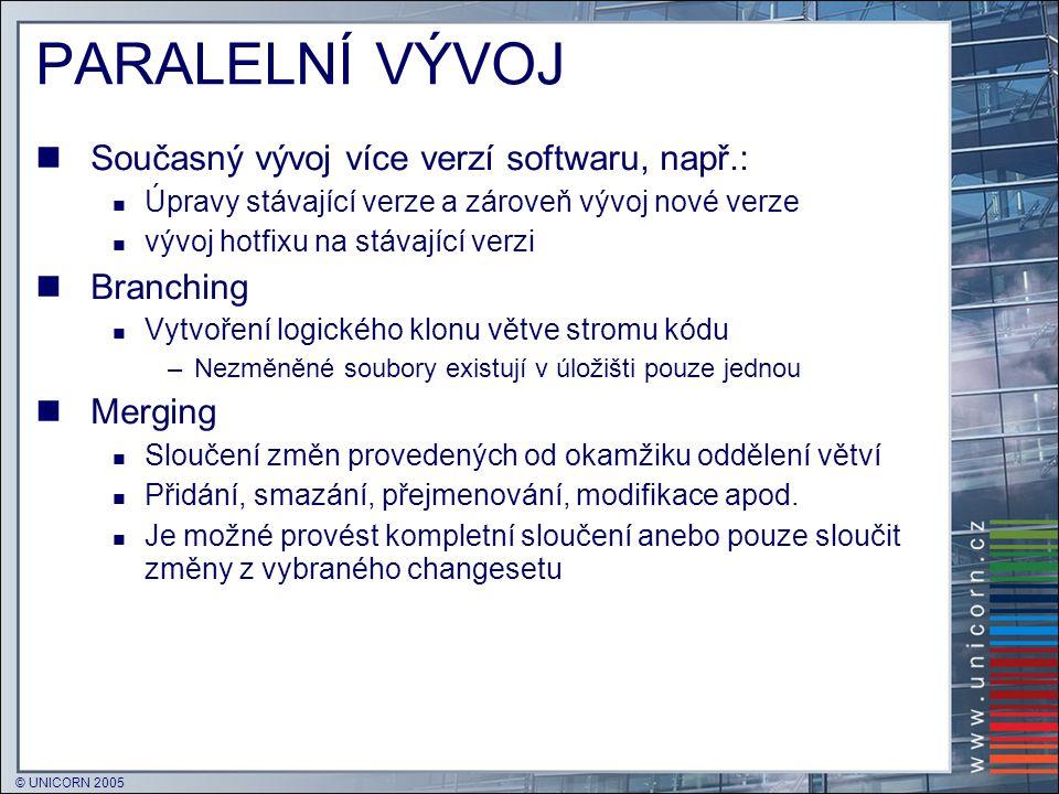 © UNICORN 2005 PARALELNÍ VÝVOJ  Současný vývoj více verzí softwaru, např.:  Úpravy stávající verze a zároveň vývoj nové verze  vývoj hotfixu na stá