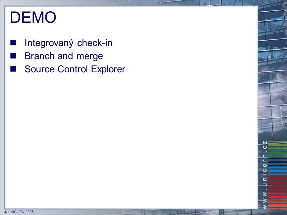 © UNICORN 2005 DEMO  Integrovaný check-in  Branch and merge  Source Control Explorer