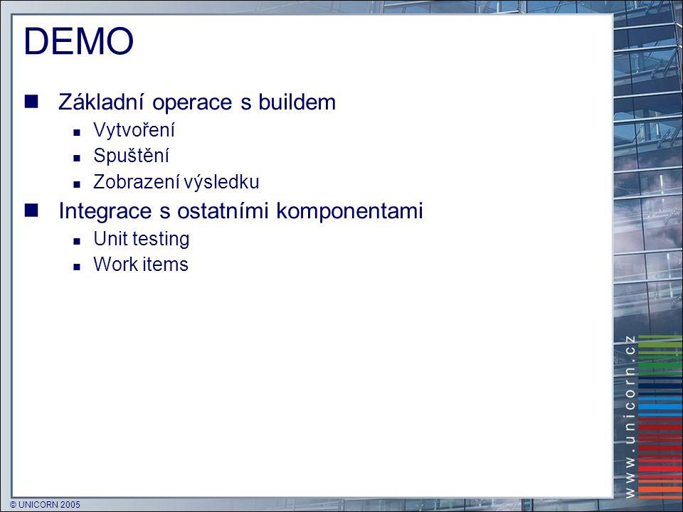 © UNICORN 2005 DEMO  Základní operace s buildem  Vytvoření  Spuštění  Zobrazení výsledku  Integrace s ostatními komponentami  Unit testing  Wor