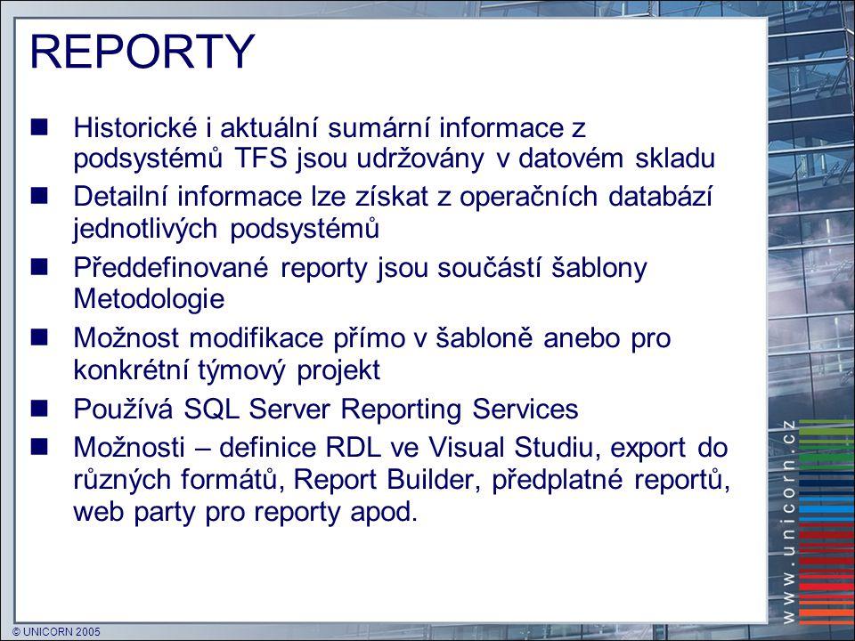 © UNICORN 2005 REPORTY  Historické i aktuální sumární informace z podsystémů TFS jsou udržovány v datovém skladu  Detailní informace lze získat z op