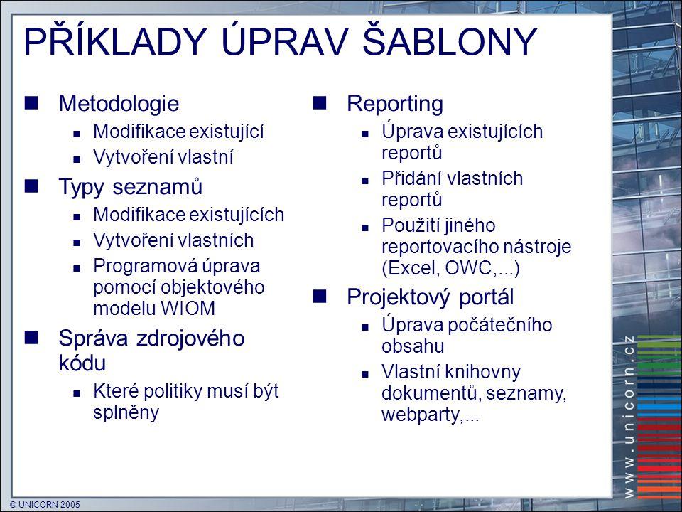 © UNICORN 2005 PŘÍKLADY ÚPRAV ŠABLONY  Metodologie  Modifikace existující  Vytvoření vlastní  Typy seznamů  Modifikace existujících  Vytvoření v