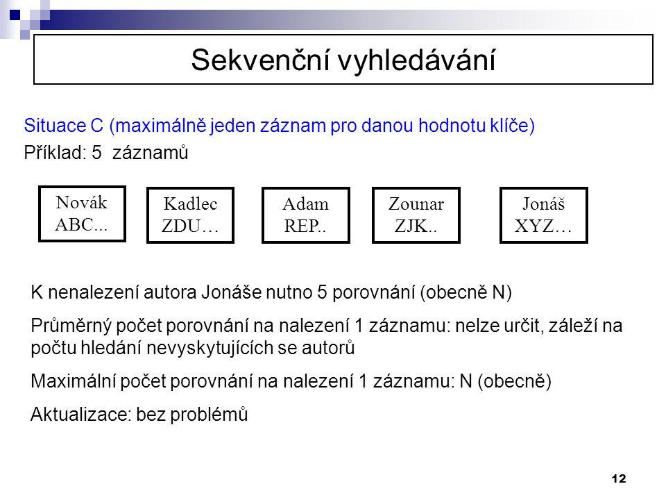 12 Situace C (maximálně jeden záznam pro danou hodnotu klíče) Příklad: 5 záznamů Novák ABC... Kadlec ZDU… Adam REP.. Jonáš XYZ… Zounar ZJK.. K nenalez