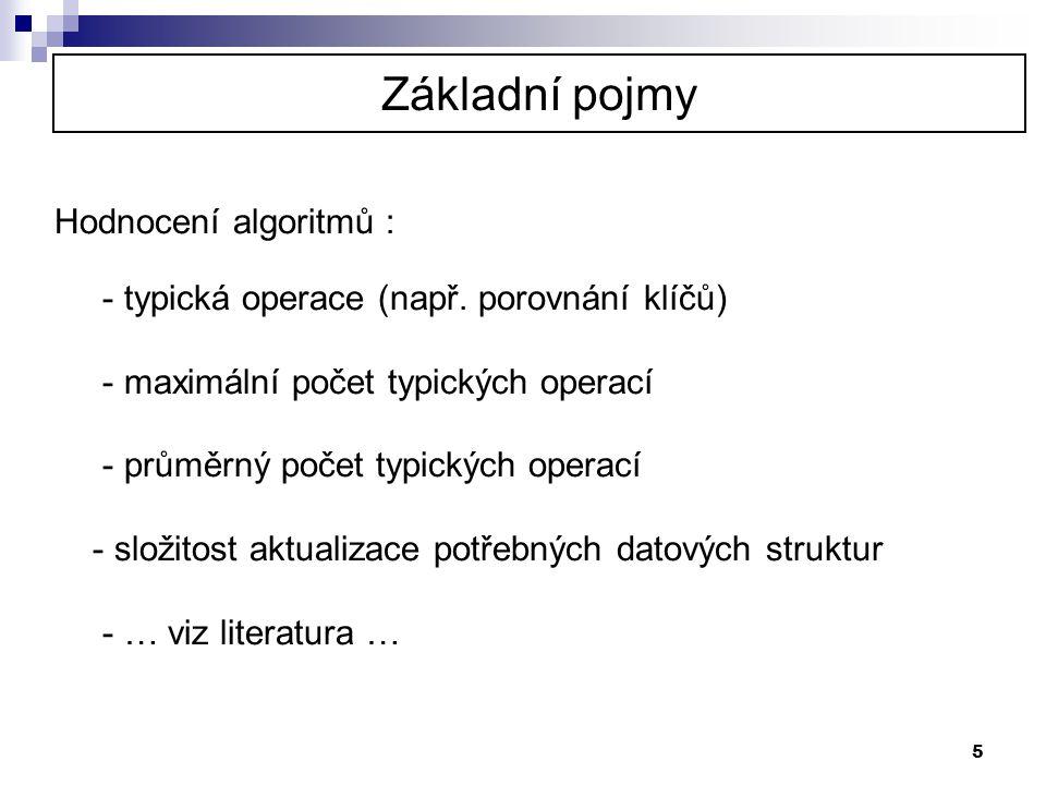 5 Hodnocení algoritmů : - typická operace (např. porovnání klíčů) - maximální počet typických operací - průměrný počet typických operací - složitost a