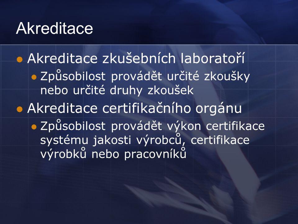 Akreditace  Akreditace zkušebních laboratoří  Způsobilost provádět určité zkoušky nebo určité druhy zkoušek  Akreditace certifikačního orgánu  Způ