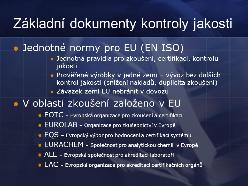 Základní dokumenty kontroly jakosti  Jednotné normy pro EU (EN ISO)  Jednotná pravidla pro zkoušení, certifikaci, kontrolu jakosti  Prověřené výrob