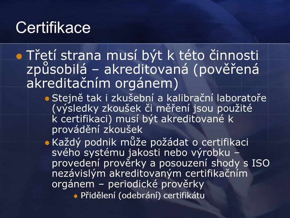 Certifikace  Třetí strana musí být k této činnosti způsobilá – akreditovaná (pověřená akreditačním orgánem)  Stejně tak i zkušební a kalibrační labo