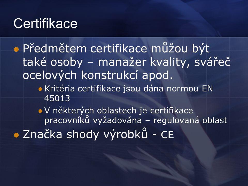Certifikace  Předmětem certifikace můžou být také osoby – manažer kvality, svářeč ocelových konstrukcí apod.  Kritéria certifikace jsou dána normou