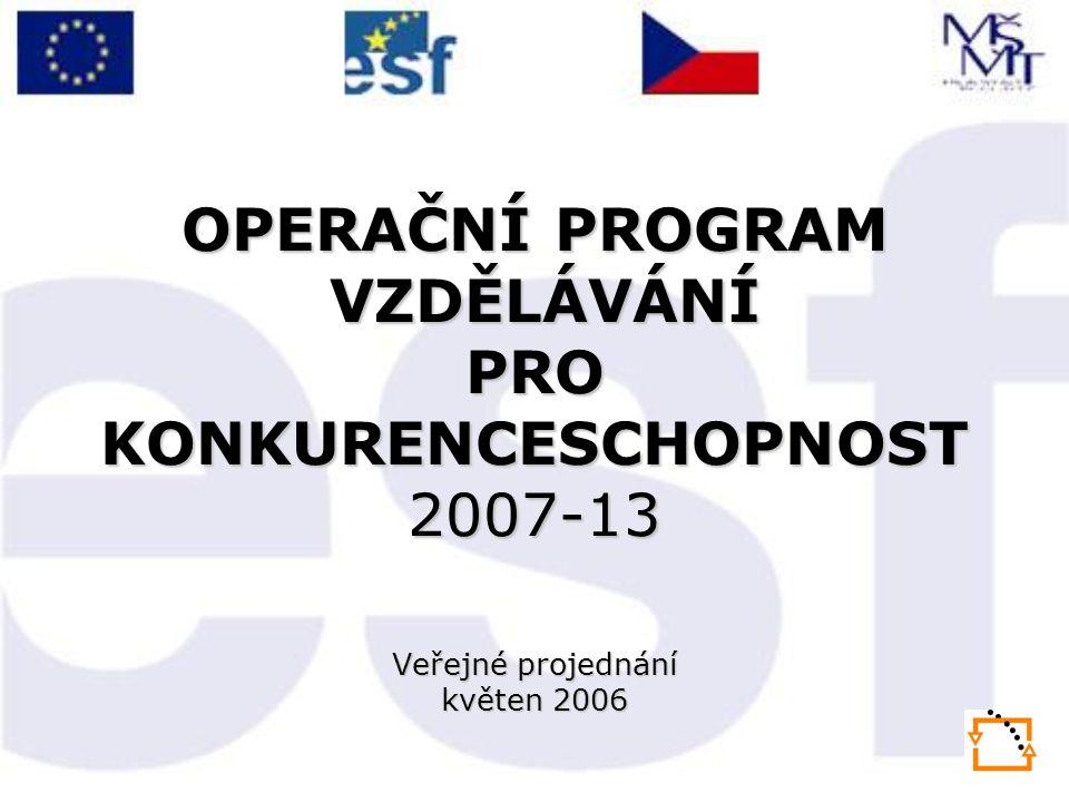 OPERAČNÍ PROGRAM VZDĚLÁVÁNÍ PRO KONKURENCESCHOPNOST 2007-13 Veřejné projednání květen 2006