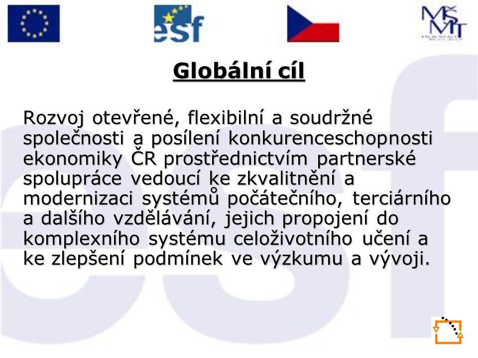 Globální cíl Rozvoj otevřené, flexibilní a soudržné společnosti a posílení konkurenceschopnosti ekonomiky ČR prostřednictvím partnerské spolupráce vedoucí ke zkvalitnění a modernizaci systémů počátečního, terciárního a dalšího vzdělávání, jejich propojení do komplexního systému celoživotního učení a ke zlepšení podmínek ve výzkumu a vývoji.