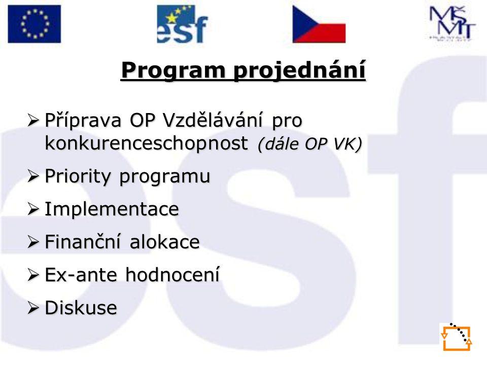Program projednání  Příprava OP Vzdělávání pro konkurenceschopnost (dále OP VK)  Priority programu  Implementace  Finanční alokace  Ex-ante hodnocení  Diskuse